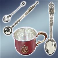 Столові церковні вироби, ложка іменна, ложки іменні, ложка срібна, ложки срібні, весільні бокали, чашки церковні
