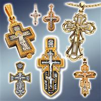 Хрест срібний з позолотою, хрестик срібний з золотом, хрест натільний