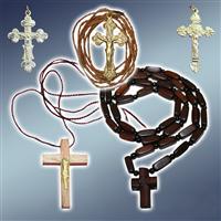 Хрестик натільний посріблений, хрестик натільний бронзовий, хрестик дерев