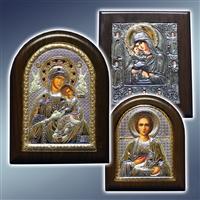 Ікона на дошці, ікона Пресвятої Богородиці, ікона Георгій, ікона Пантелеймон, ікона Миколай Чудотворець