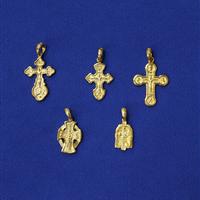 Хрестики і підвіски латунні, позолочені